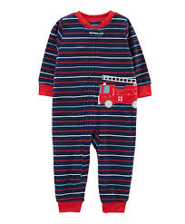 Buy Carters 1Piece Firetruck Fleece Footless PJs Navy Blue For Boys ...