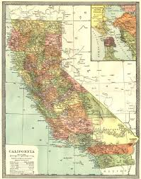 CALIFORNIA State Map Counties San Francisco Bay 1907