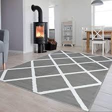 tapiso luxury teppich kurzflor wohnzimmer schlafzimmer grau weiß modern marokkanisch geometrisch karo kariert ökotex 80 x 150 cm