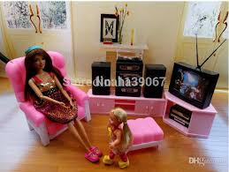 wholesale tv sound stand chair set dollhouse pink television set
