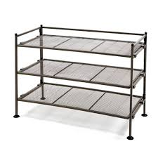 Seville Classics 3 Tier Mesh Utility Shoe Rack in Gray SHE