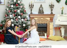 Girls Twins With Gifts E Christmas Tree