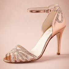 Rose Gold Glittered Heel Real Wedding Shoes Pumps Sandals Gold