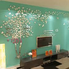 spiegel wohnzimmer wand aufkleber baum liebhaber acryl stereo tv sofa hintergrund schlafzimmer warme kristall wand aufkleber angebracht