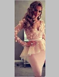 2016 blush pink short corset prom dresses with flowers long sleeve