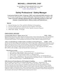 Michael Bradford CHST AHSM Safety Professional Resume Sample Ideas Health Inspector