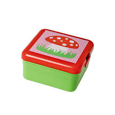 Kids Lunch Box Green Pink Flowers Red White Toadstool Rice DK