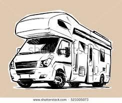 Modern Camper Van Sketch