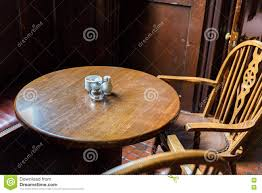 Close Up Of Vintage Table And Chairs In Irish Pub Stock ...