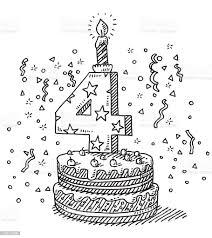 geburtstag kuchen nummer 4 zeichnung stock vektor und mehr bilder ausgemalte federzeichnung