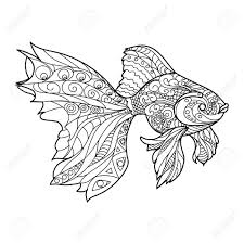Gold Fish Coloring Book For Adults Vector Illustration Stock