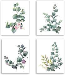 kairne 4er set stilvolles wohnzimmer poster aquarell grüne blätter bilder moderne rosa blumen pflanze posters wand kunst deko für