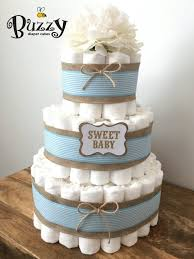 Burlap Blue Diaper Cake Baby And 3 Tier