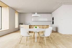 Modern White Kitchen Interior 3d Rendering Stockfoto Und Interior Of Modern Kitchen With White Walls Wooden Floor
