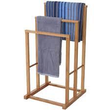 details zu handtuchhalter hwc b18 badezimmer handtuchständer freistehend bambus 82x42x42cm