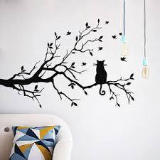 schwarz baum katze wandaufkleber wandtattoo wohnzimmer
