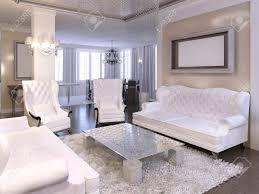 luxuriöses wohnzimmer design mit weißen stühlen und sofa silber hängende decke mit kronleuchter und schwarzen stehlen 3d übertragen