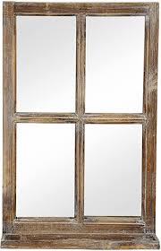 deko fenster fensterrahmen mit ablagebrett und spiegel im landhausstil holz natur shabby ca 40 x 14 x 62 cm hoch