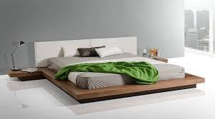 Modrest Opal Modern Low Profile Walnut Platform Bed Gallery