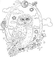 Owl Coloring Page The Green Dragonfly Colouring Pages Of Cartoon Owls Animal Pictures