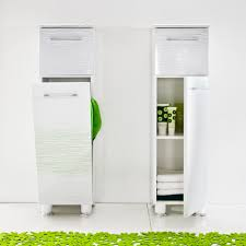 White Bathroom Wall Cabinets With Glass Doors by Decor Narrow Tall Storage Cabinet In White For Bathroom Furniture