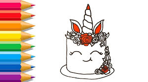 How To Draw A Unicorn Cake Easy Learn Colors For Kids Inside