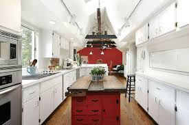 White Galley Kitchen With Narrow Red Rustic Island