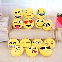 13Inch Cute Emoji Emoticon Cushion Pillow Round Yellow Stuffed