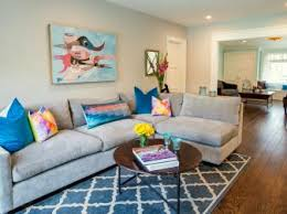 Transitional Living Room With Blue Patterned Rug