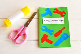 Greeting Card With Paper Tools Scissors Glue Kids