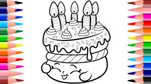 How To Draw Shopkins Birthday Cake Wishes Learning Coloring Pages For Children With Colored Markers