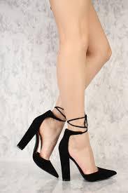 black strappy tie pointy toe chunky high heels faux velvet