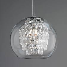 Glass Globe And Crystal Pendant Light Modern Crystal