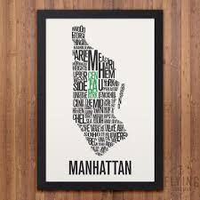 MANHATTAN New York Nachbarschaft Typografie Stadt Karte Etsy