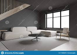 graue wohnzimmerecke mit sofa und fenster stock abbildung