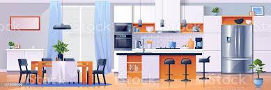 küche innenhintergrund moderne wohnmöbel vektor küche esszimmer tisch und geräte cartoonflachbau herd oder mikrowelle und kühlschrank schrank und