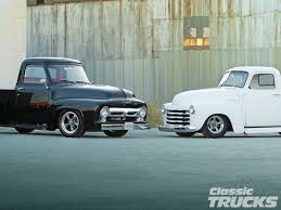 1955 Ford F 100 Vs 1950 Chevrolet Pickup Hot Rod Network Ford Vs ...