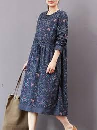 Floral Printed Drawstring Long Sleeve Vintage Dresses For Women