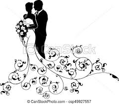 Bride And Groom Wedding Bridal Dress Silhouette Vector