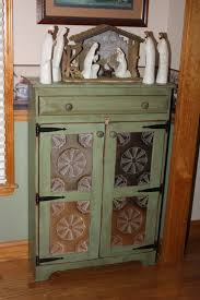 Rustic Pantry Cabinet With Pie Safe FREE SHIPPING Punched Tin By RedBudPrimitives Pine Kitchen