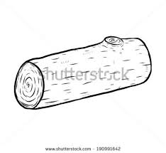 Wood Log Cartoon Vector And Illustration Black White Hand Drawn Sketch