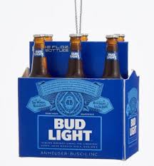 6 Pack Bud Light Beer Bottles Christmas Tree Ornament Anheuser Busch AB2111 New