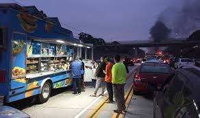 Food Truck Operator Stranded On LA Freeway After Car Crash Finds ... The Nomad Truck La La Carte Keamericanstyorg Ta Bom Los Angeles Womenowned Korean Nearly 30 Percent Of Food Trucks Face Sanitation Gourmet Outside County Museum Art Food Truck Selection May Dwindle Park Labrea News Beverly Bollywood Bites Trucks In Ca Renting For Wedding Archives Page 2 5 Best Guerrilla Tacos As Heard On Npr And One Johnathan Golds List Exploring In Town Cbs Best Street Eats Pinterest