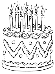 Birthday Cakes Coloring Pages Seven Candles Cakepins