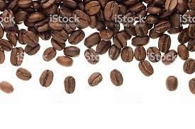 Heap Roasted Coffee Beans As Decorative Border With Copy Space Isolated On White Background Royalty