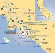 Huntington Beach California Map State Southern Simple Design