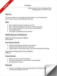 Massage Therapist Resume Sample