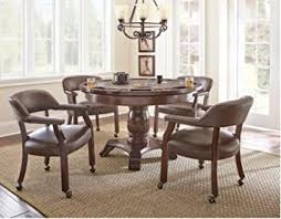 Dining Table With Poker Game Top And 4 Rolling Chairs Talley Collection In Brown Finish