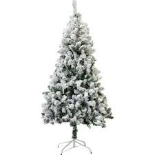 Snow Flocked 4 White Green Spruce Trees Artificial Christmas Tree