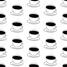 Coffee Cup Pattern With Hand Drawn Cups Cute Black And White